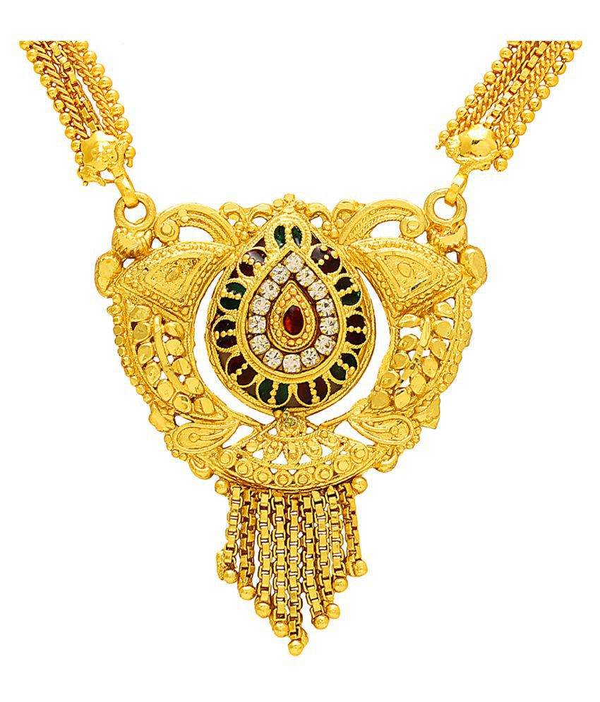 DzineTrendz Gold plated Brass Tilak shape Meenakari CZ Mangalsutra necklace jewellery Women Girls