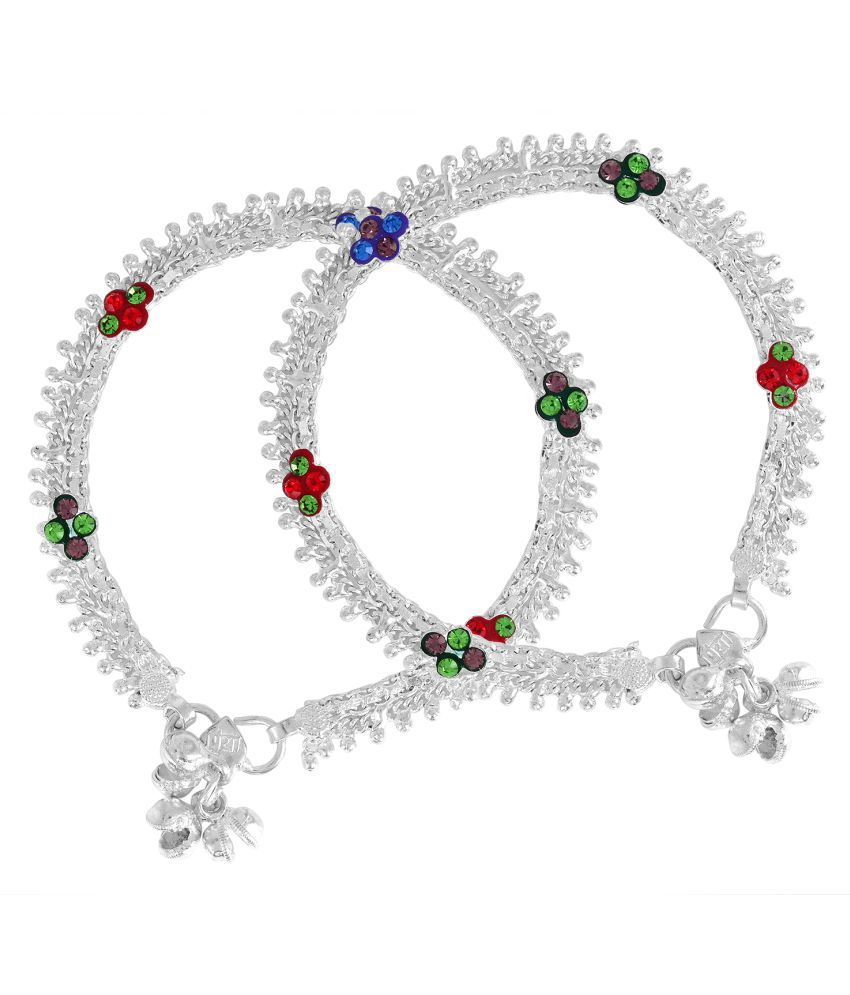 DzineTrendz Silver plated colourful handmade bead design flat and broad strand tradtional ethnic bridal jewellery Anklet for Women