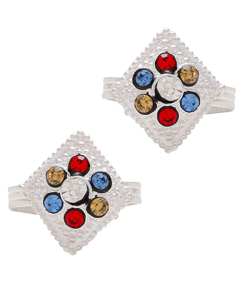 DzineTrendz Sterling Silver coated Colourful Multi-colour White Zirconia studded Kite shape Adjustable size Ethnic Bridal wedding purpose toe ring foot ring for Women