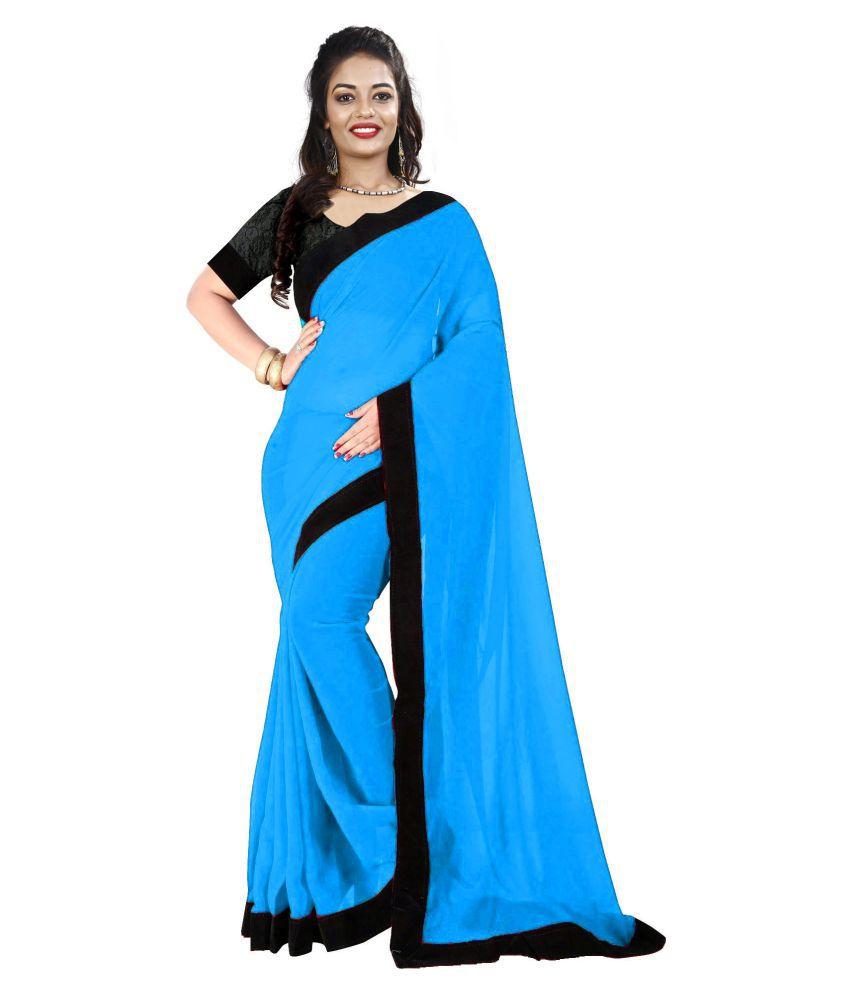 Fashion and hub Blue Georgette Saree
