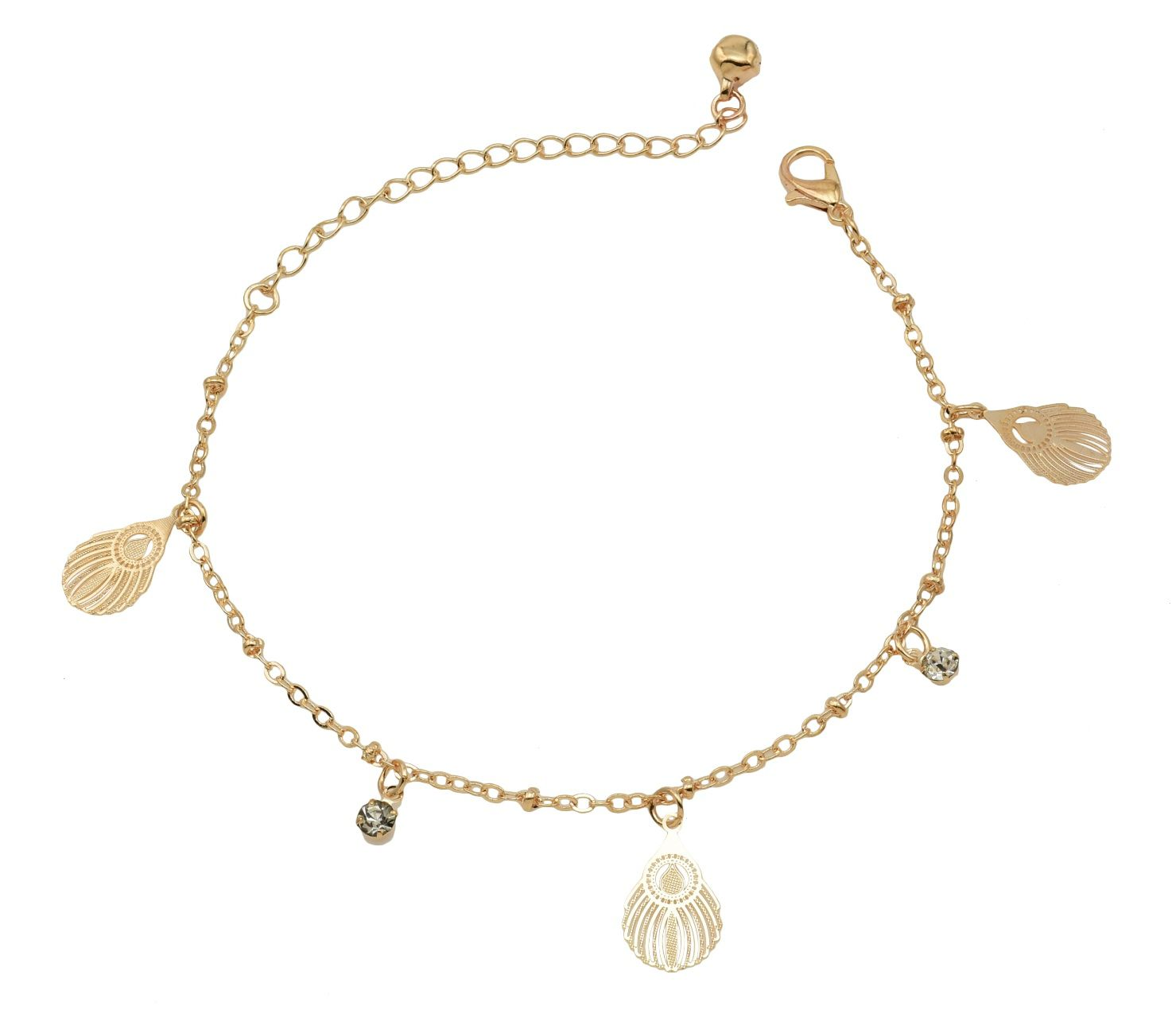 High Trendz Trendy Light Weight Gold Plated Anklet With Hanging Feather For Women And Girls