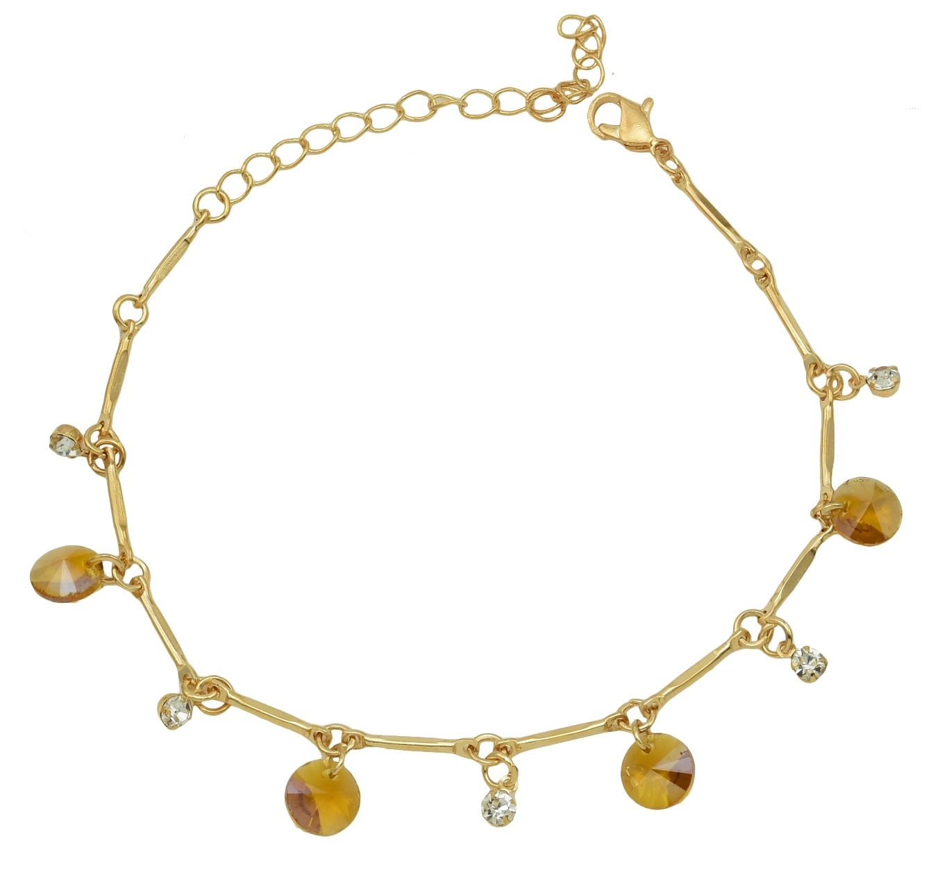 High Trendz Trendy Light Weight Gold Plated Anklet With Hanging Brown Crystal For Women And Girls