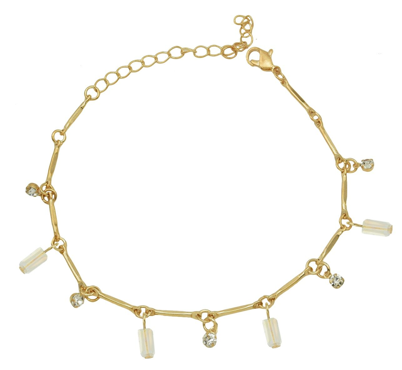 High Trendz Trendy Light Weight Gold Plated Anklet With Hanging White Crystal For Women And Girls