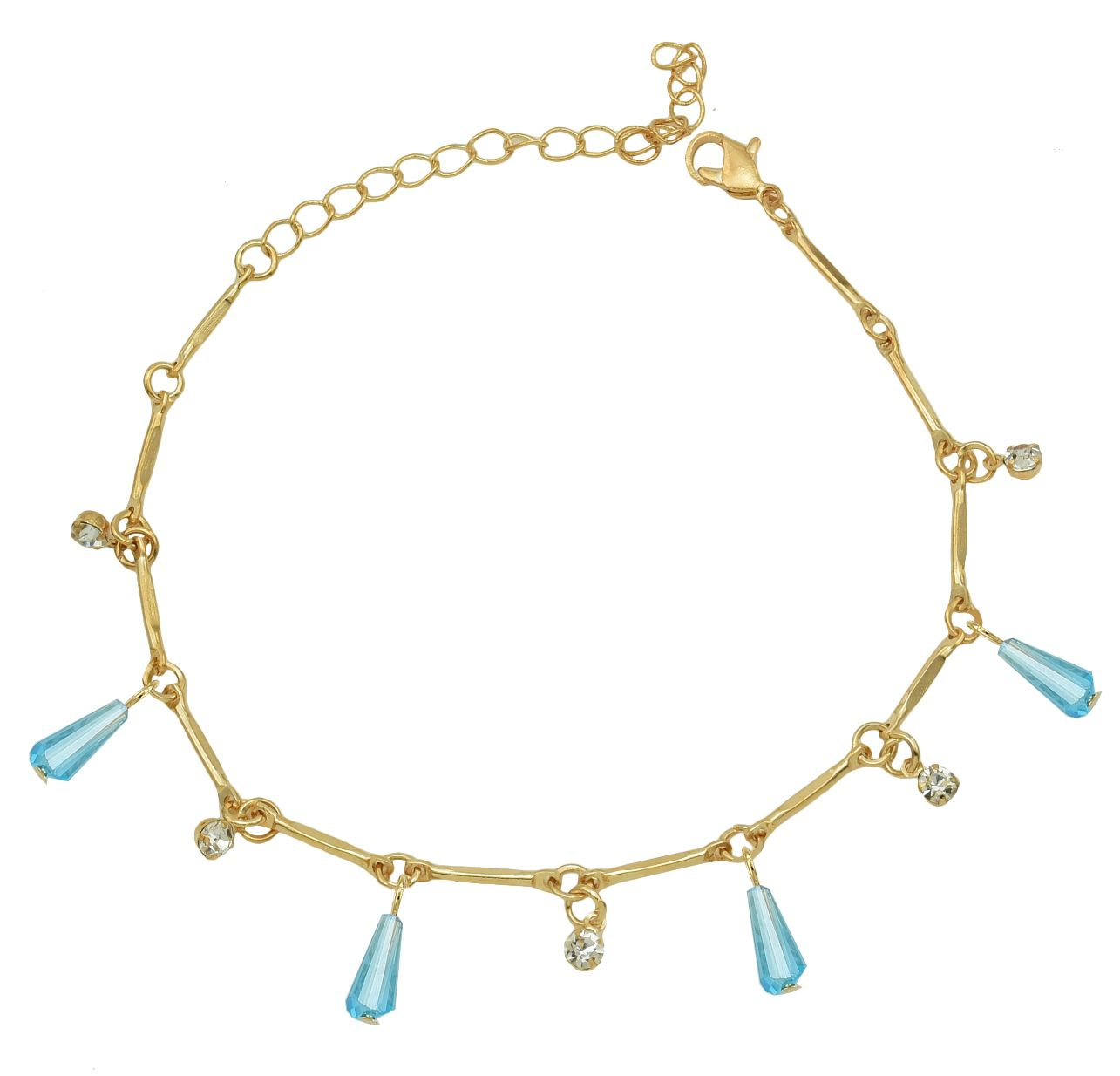 High Trendz Trendy Light Weight Gold Plated Anklet With Hanging Blue Crystal For Women And Girls