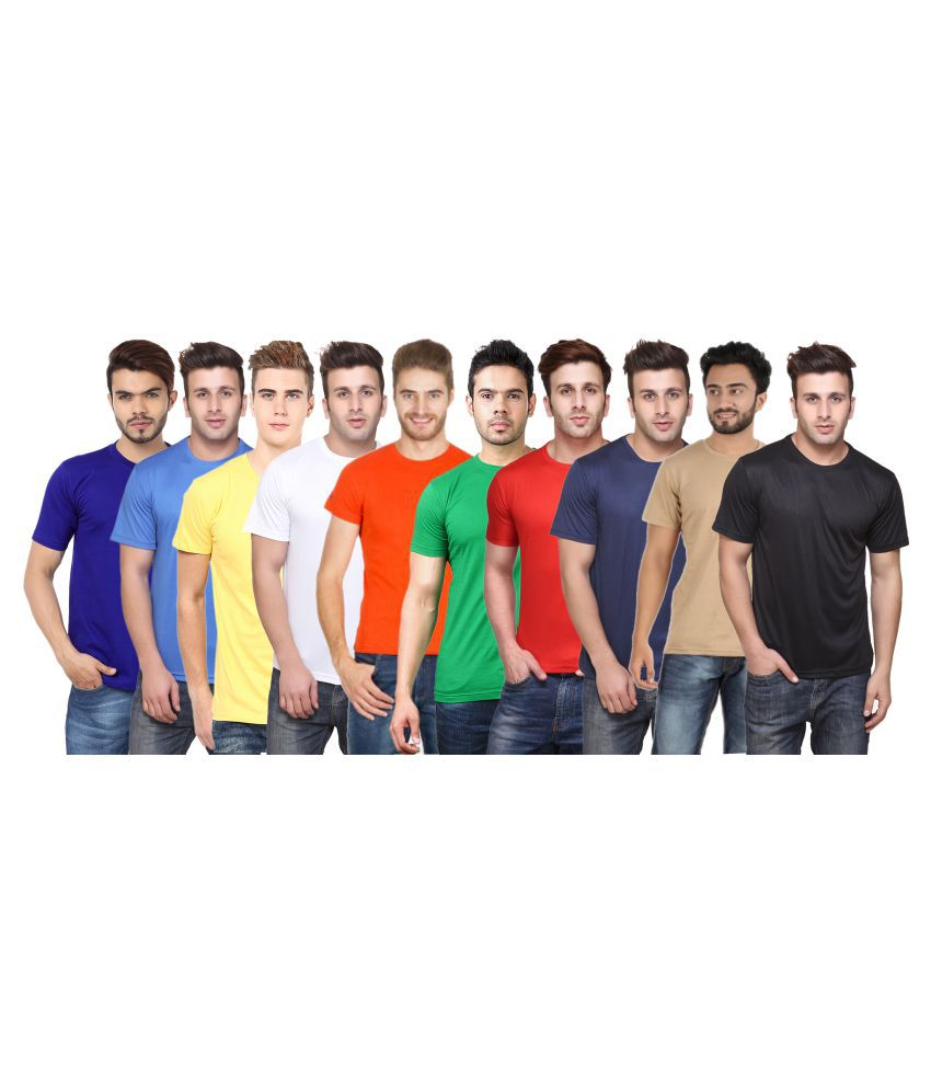 FUNKY GUYS Multi Polyester T-Shirt Pack of 10