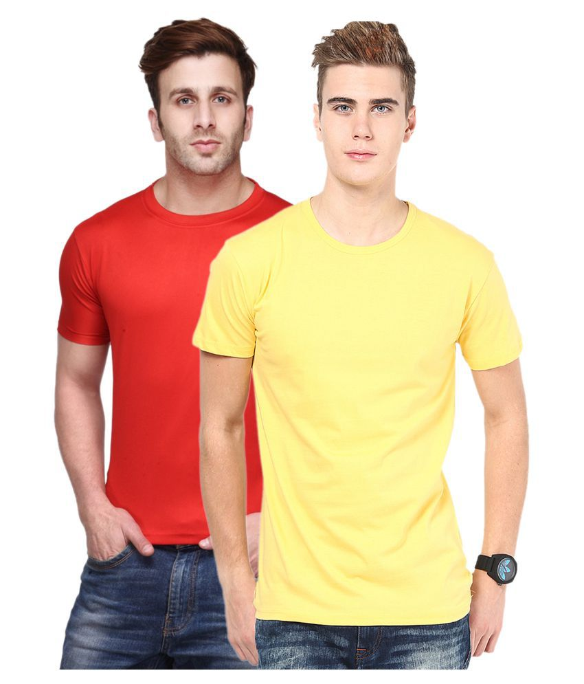 FUNKY GUYS Multi Polyester T-Shirt Pack of 2