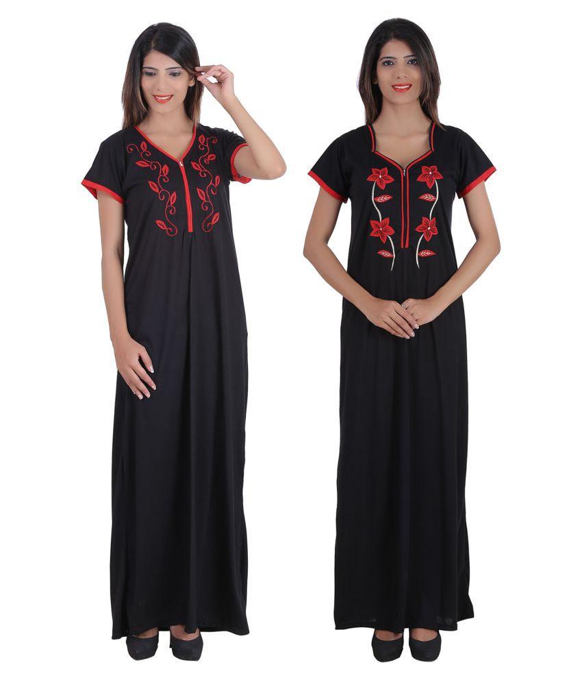 Glossia Cotton Nighty & Night Gowns - Multi Color