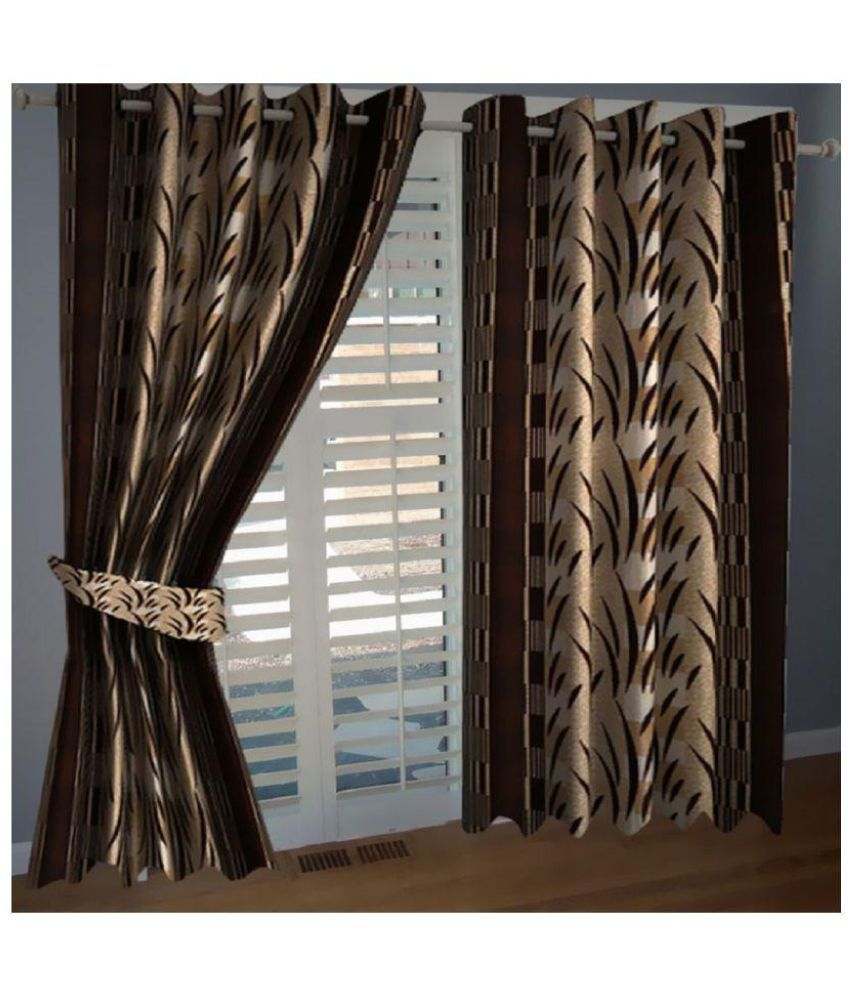 Geonature Set of 4 Window Eyelet Curtains Floral Brown