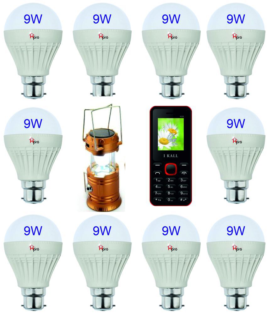 Homepro 9W LED Bulbs Natural White - (Pack Of 10) With Solar Lantern & Mobile