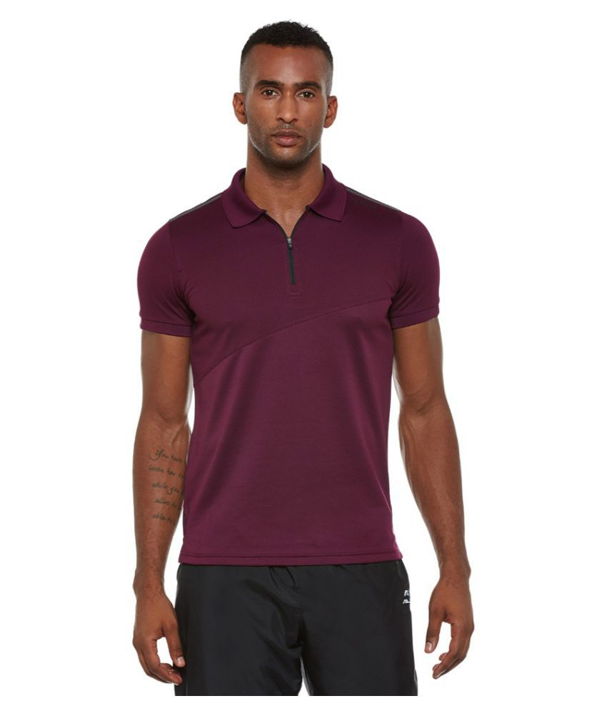 Alcis Men Solid Purple Polo