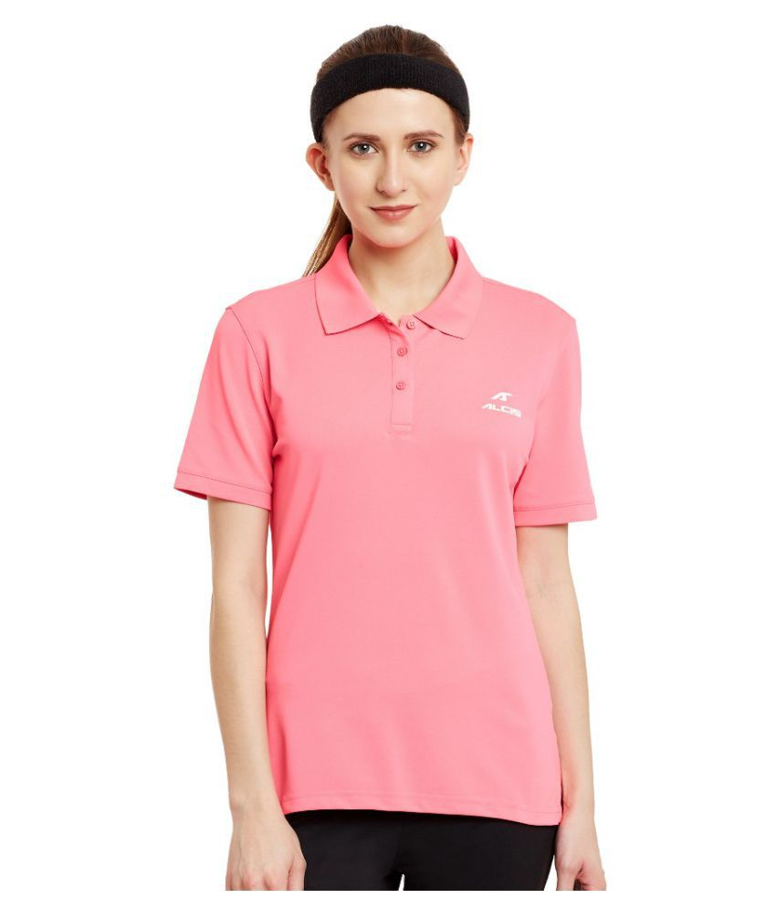Alcis Women Solid Pink Polo