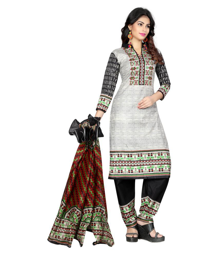 Concepta Grey Cotton Dress Material