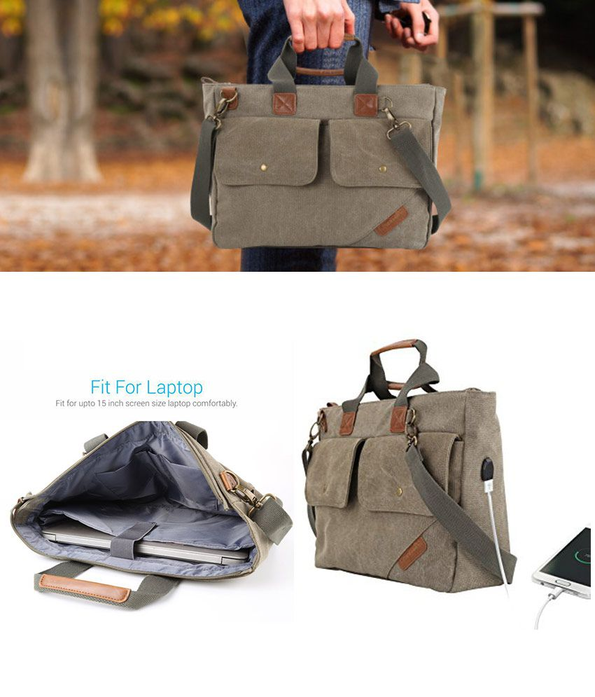 Portronics POR-827 Elements U Green Fabric Office Bag
