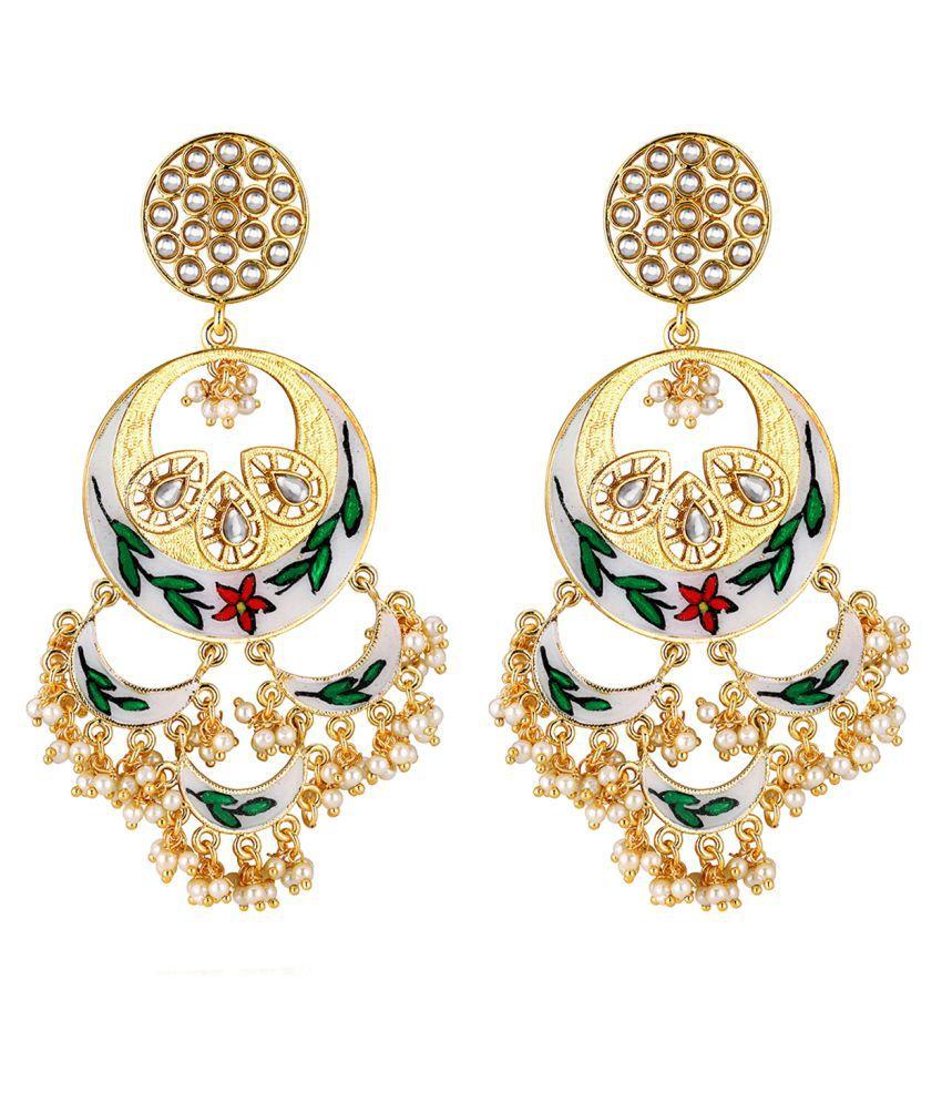 Spargz Traditional Gold Plated Wedding & Party Wear Enamel Pearl Kundan Big Chand Bali Earrings For Women AIER_1364