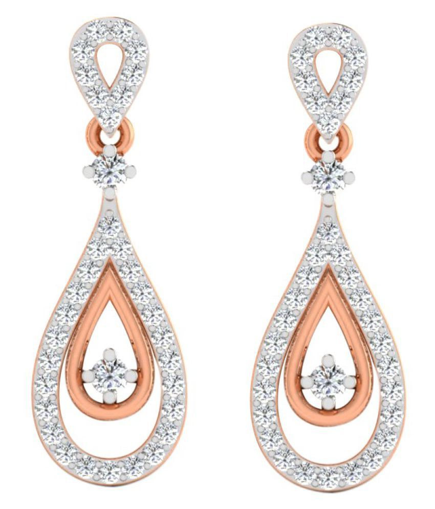 His & Her 14k Rose Gold Diamond Drop Earrings