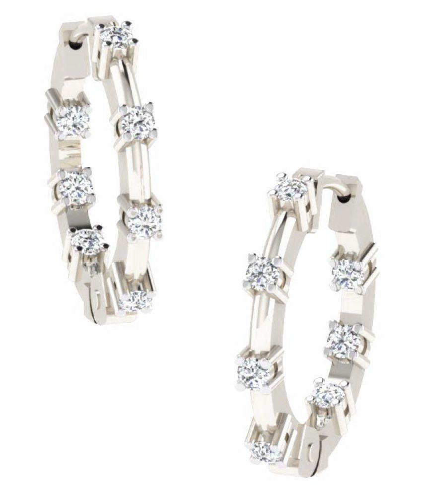 His & Her 14k White Gold Diamond Hoop
