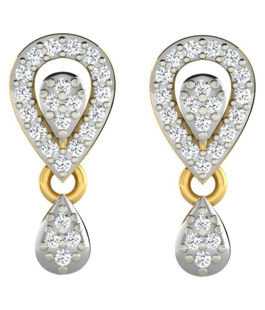 His & Her 14k Yellow Gold Diamond Drop Earrings