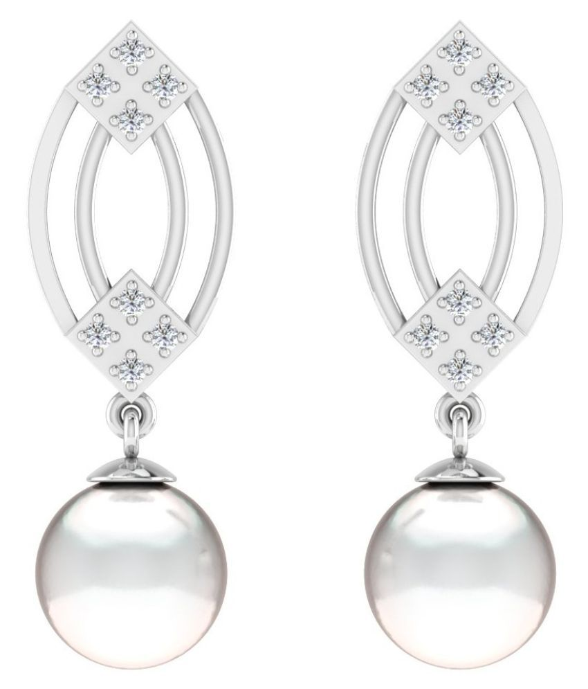 His & Her 14k White Gold Pearl Drop Earrings