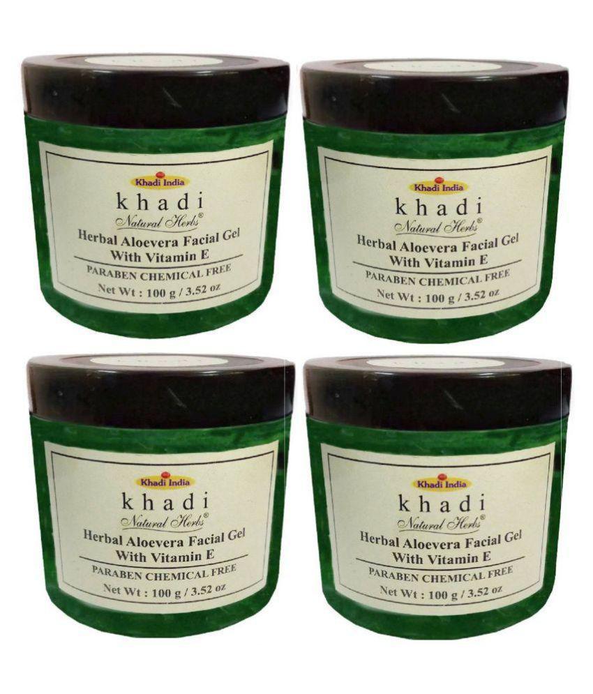 Khadi Herbal Alovera Facial Gel with Vitamine E Facial Kit 400 gm Pack of 4