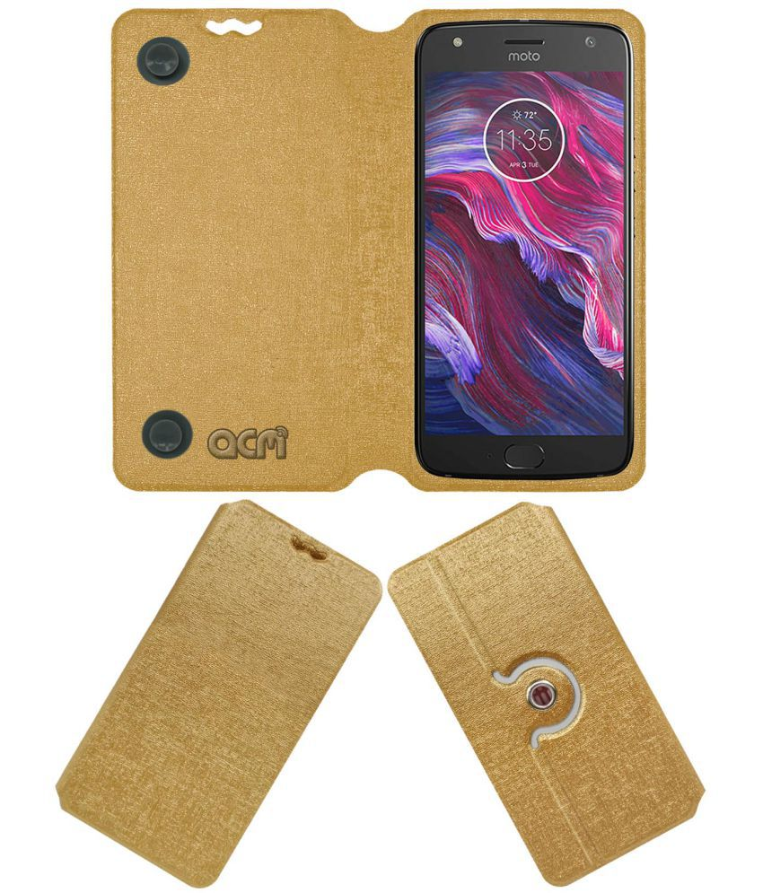 Motorola Moto X4 Flip Cover by ACM - Golden