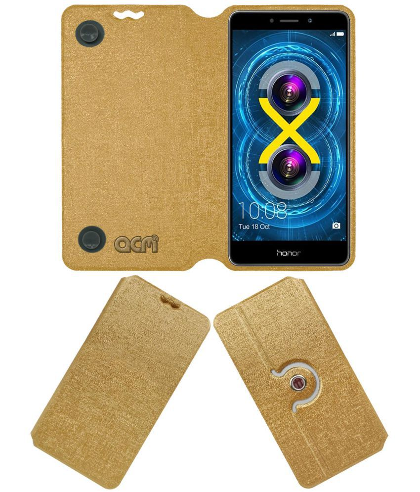 Honor 6X Flip Cover by ACM - Golden
