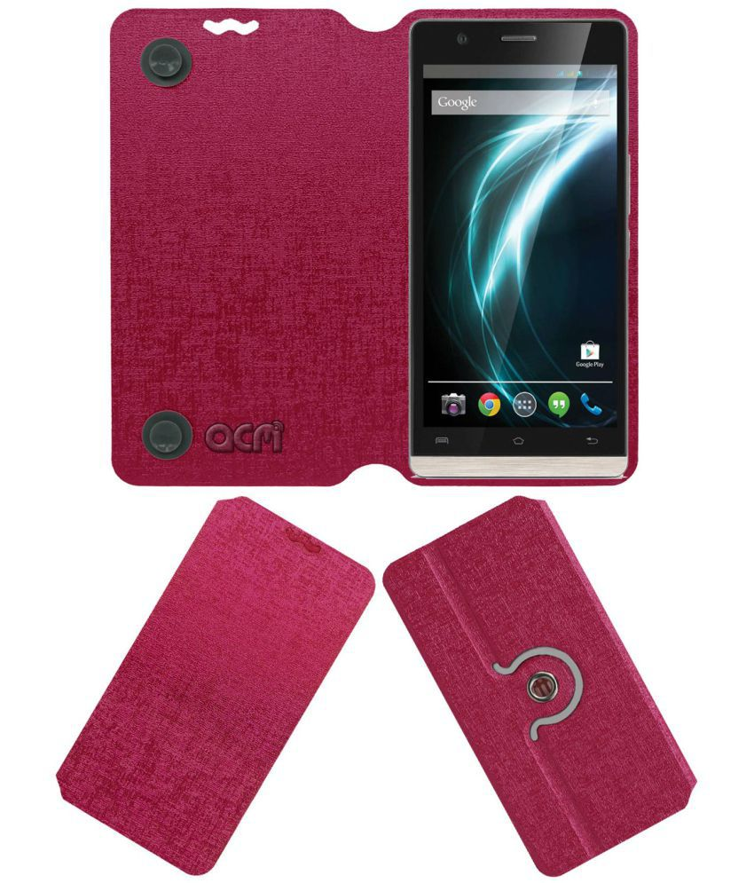 Lava Iris Icon Flip Cover by ACM - Pink