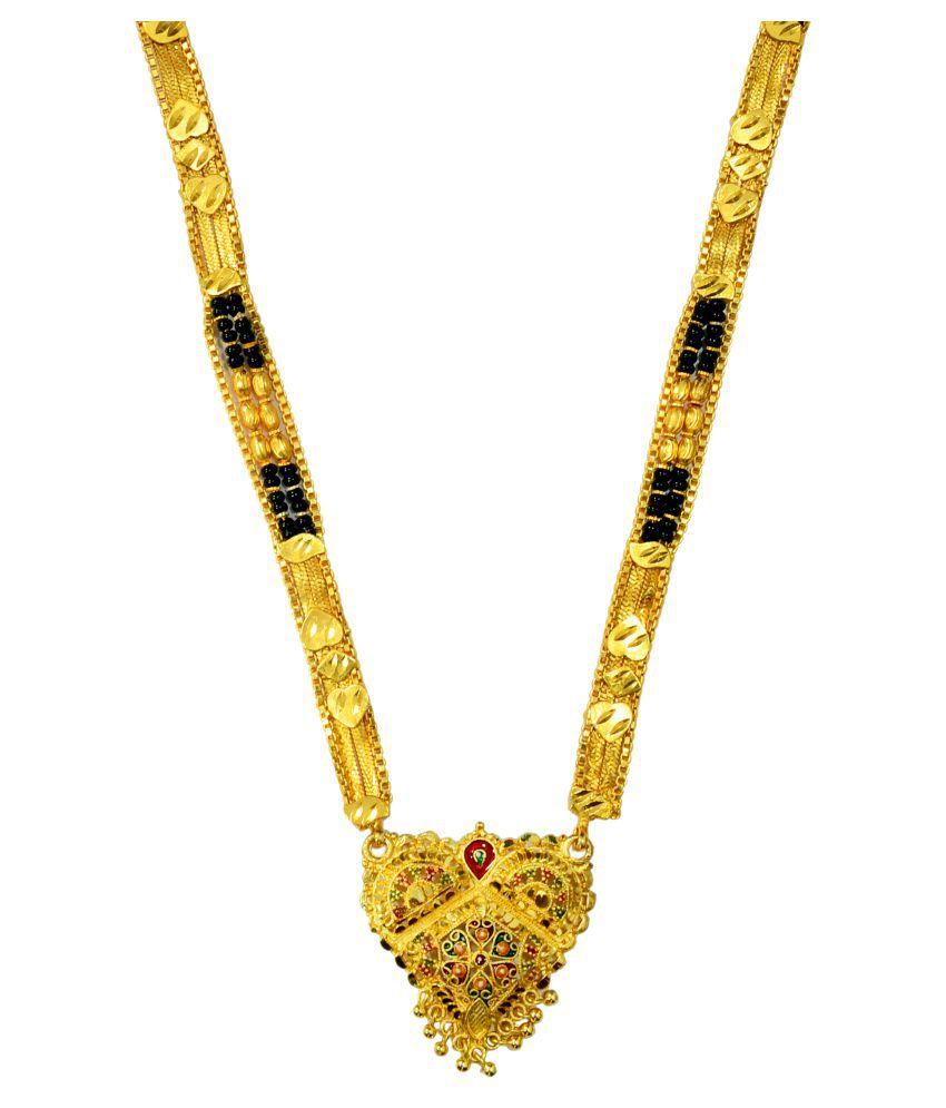 Mansiyaorange Traditional Original Look One Gram Golden Long Mangalsutra For Women