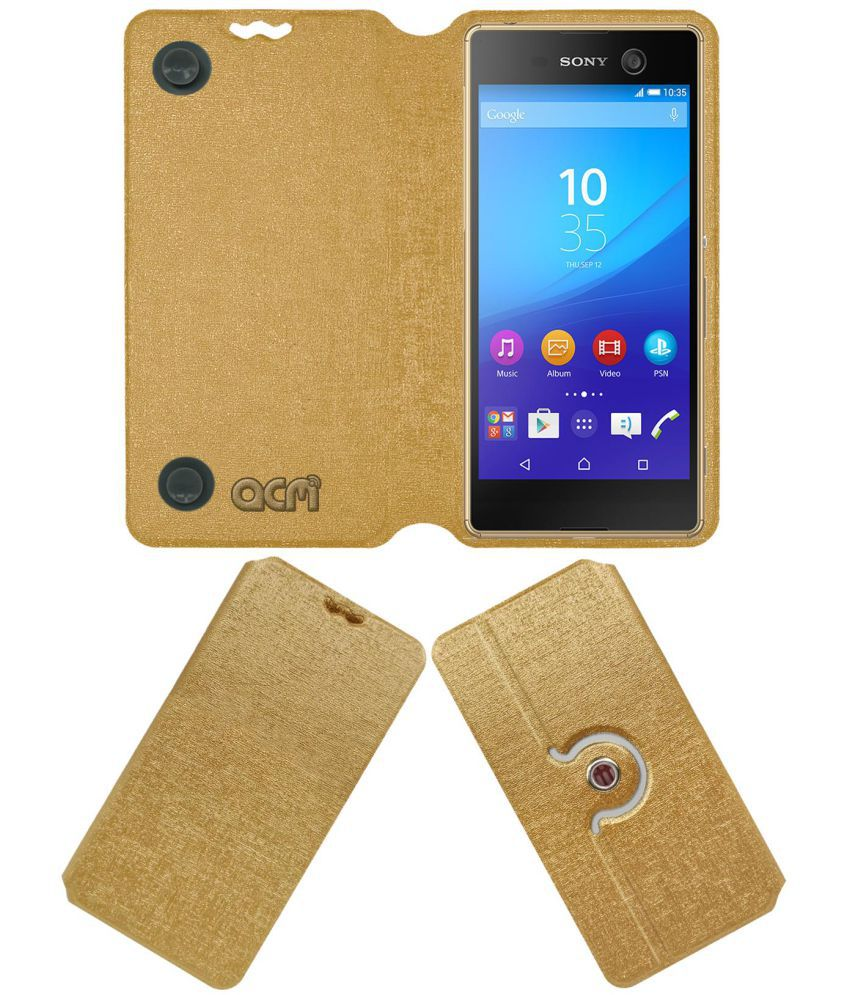 Sony Xperia M5 Flip Cover by ACM - Golden