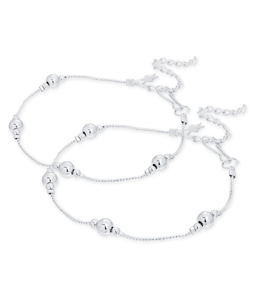 The Luxor Traditional Silver Plated Anklet/Payal for Women and Girls