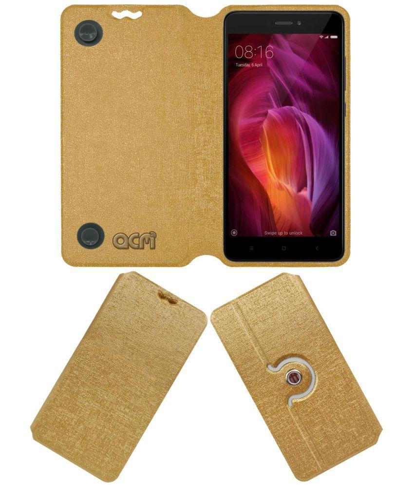 save off 92c23 db0dd Xiaomi Redmi Note 4 Flip Cover by ACM - Golden