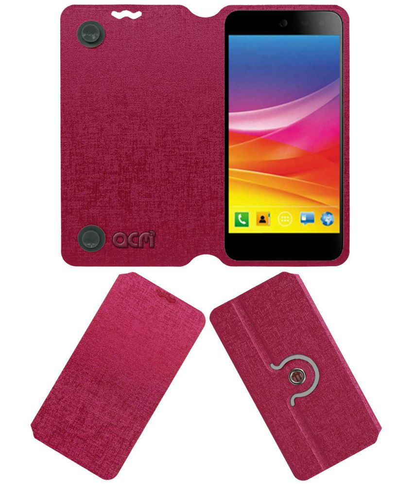 Micromax Canvas Nitro 4G Flip Cover by ACM - Pink