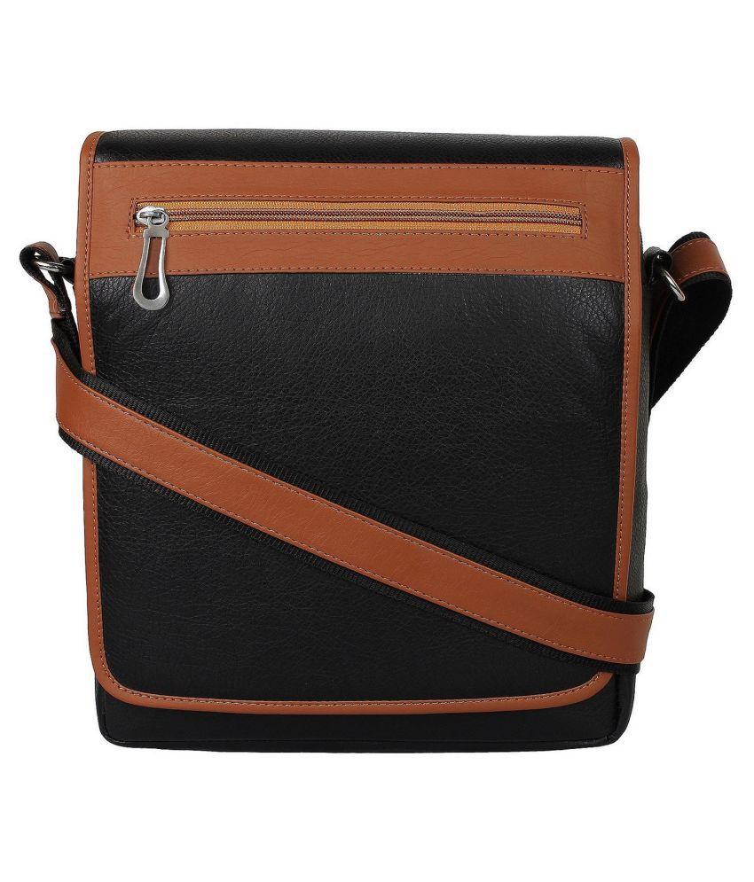 STYLESENSE SS00126 Black P.U. Casual Messenger Bag