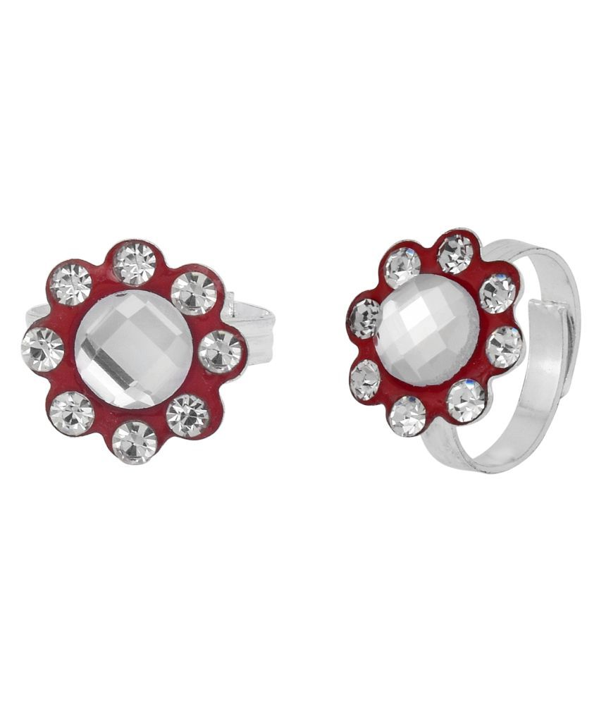 DzineTrendz Sterling Silver coated Red Meenakari White White Zirconia stylish Adjustable Ethnic Traditional Fashion foot ring toering Bichiya for Women