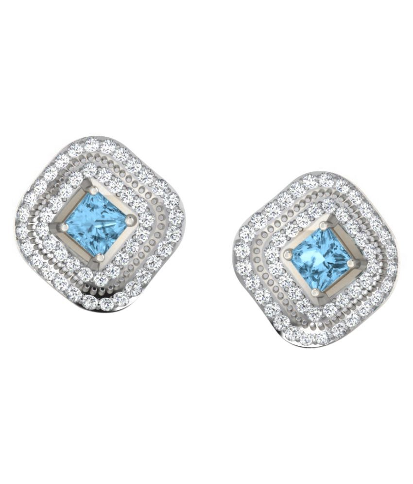 His & Her 92.5 Silver Topaz Studs