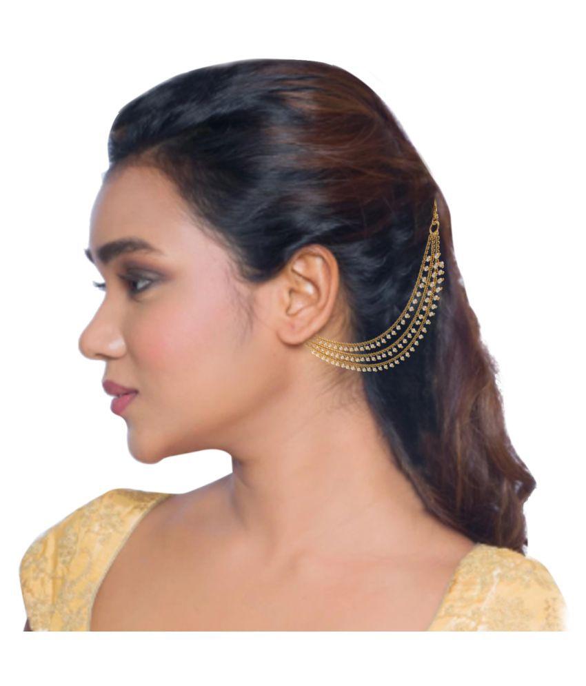 b392bf37e ... Pourni exclusive Designer 3 Pearl line chain Earring -PRERchain03 ...