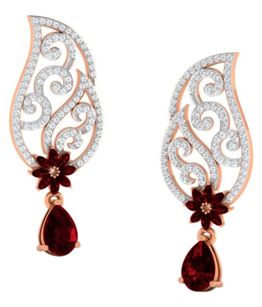 His & Her 9k Rose Gold Garnet Drop Earrings