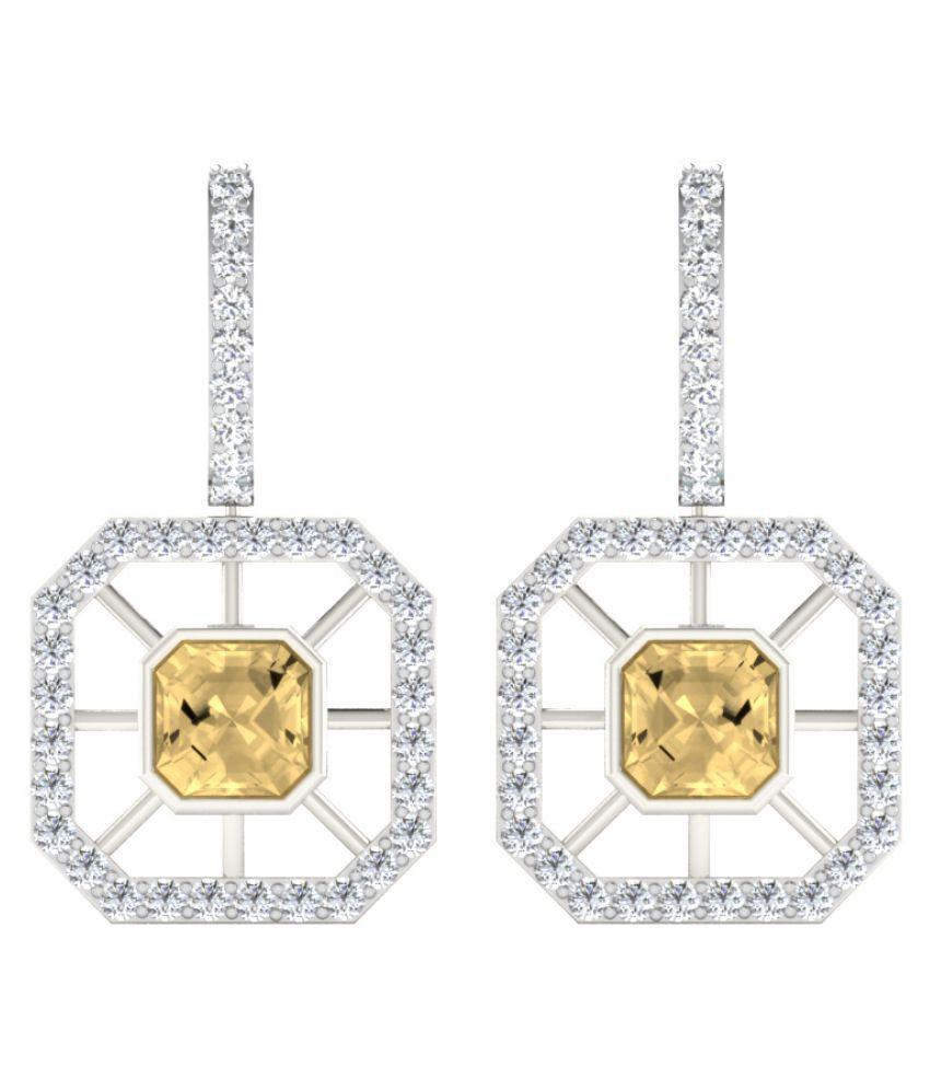 His & Her 9k White Gold Citrine Drop Earrings