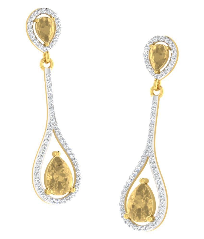 His & Her 9k Yellow Gold Citrine Drop Earrings