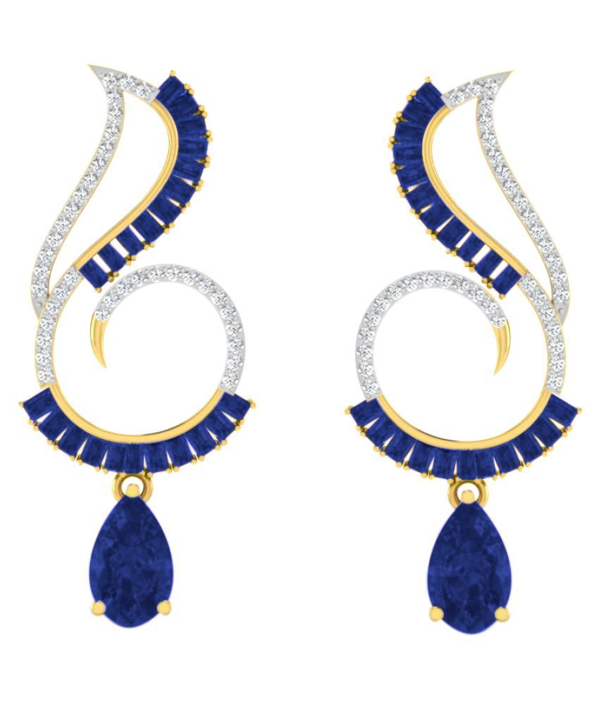 His & Her 9k Yellow Gold Sapphire Drop Earrings