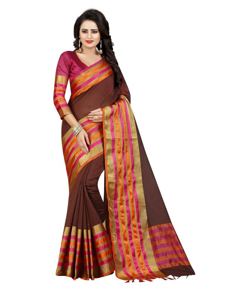 Krishna Emporia Brown Cotton Silk Saree