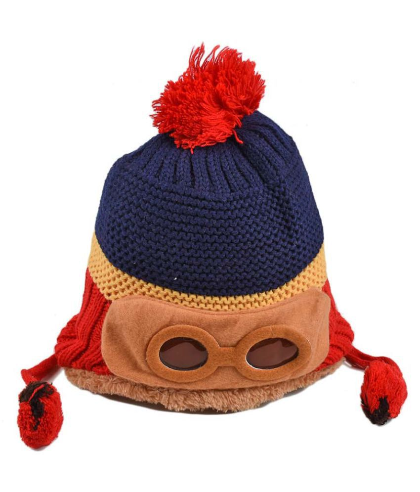 Tiekart Cute Funky Blue Winter Warm Woolen Cap for Kids