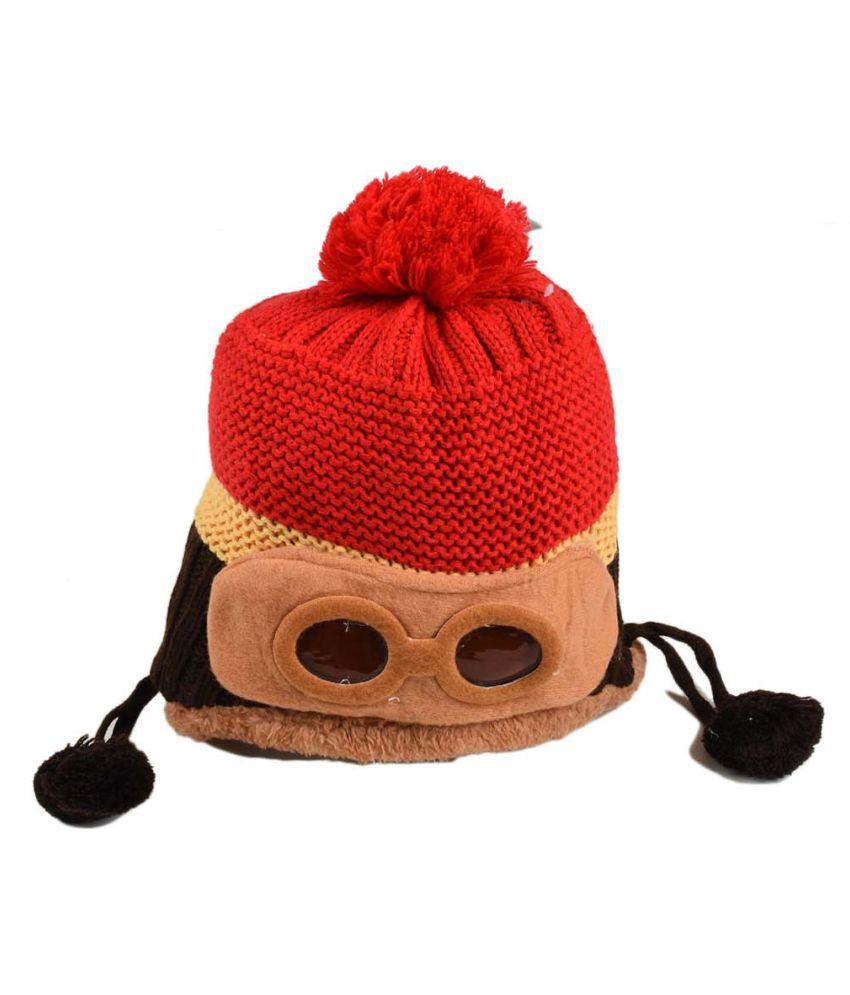 Tiekart Cute Funky Red Winter Warm Woolen Cap for Kids