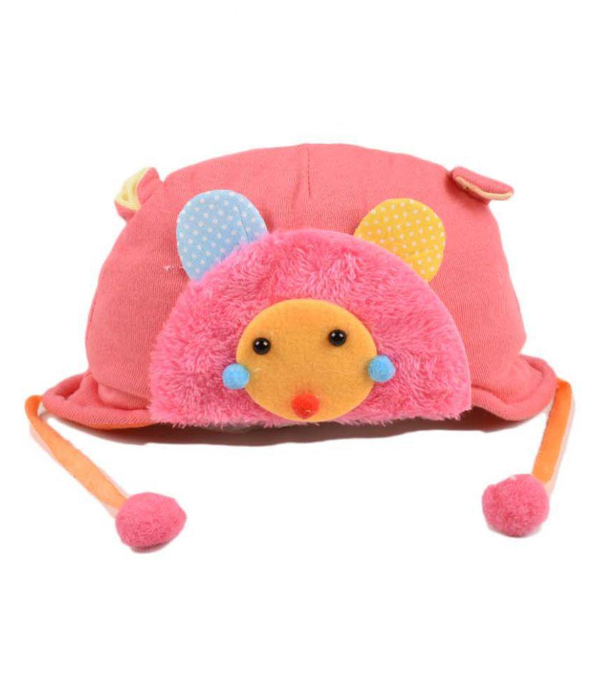 Tiekart Cute Pink Flannel Winter Warm Woolen Cap With Side Ear Covering for Kids