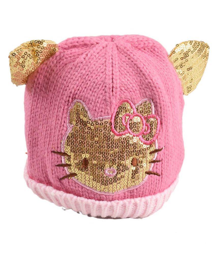 Tiekart Pink Designer Winter Warm Woolen Cap for Kids