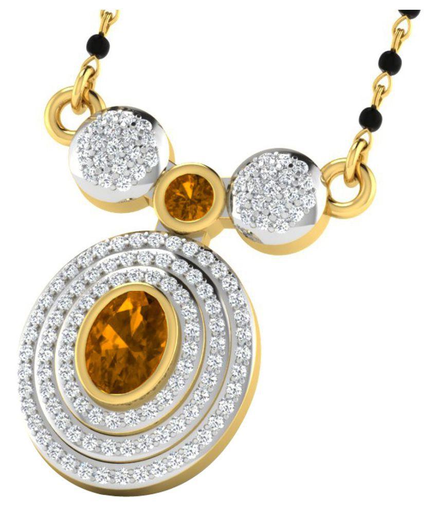 His & Her 9k Yellow Gold Citrine Mangalsutra