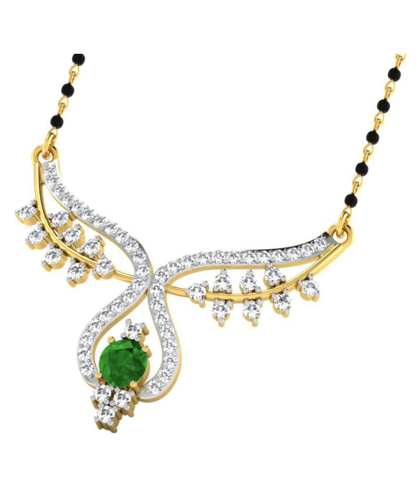 His & Her 9k Yellow Gold Emerald Mangalsutra