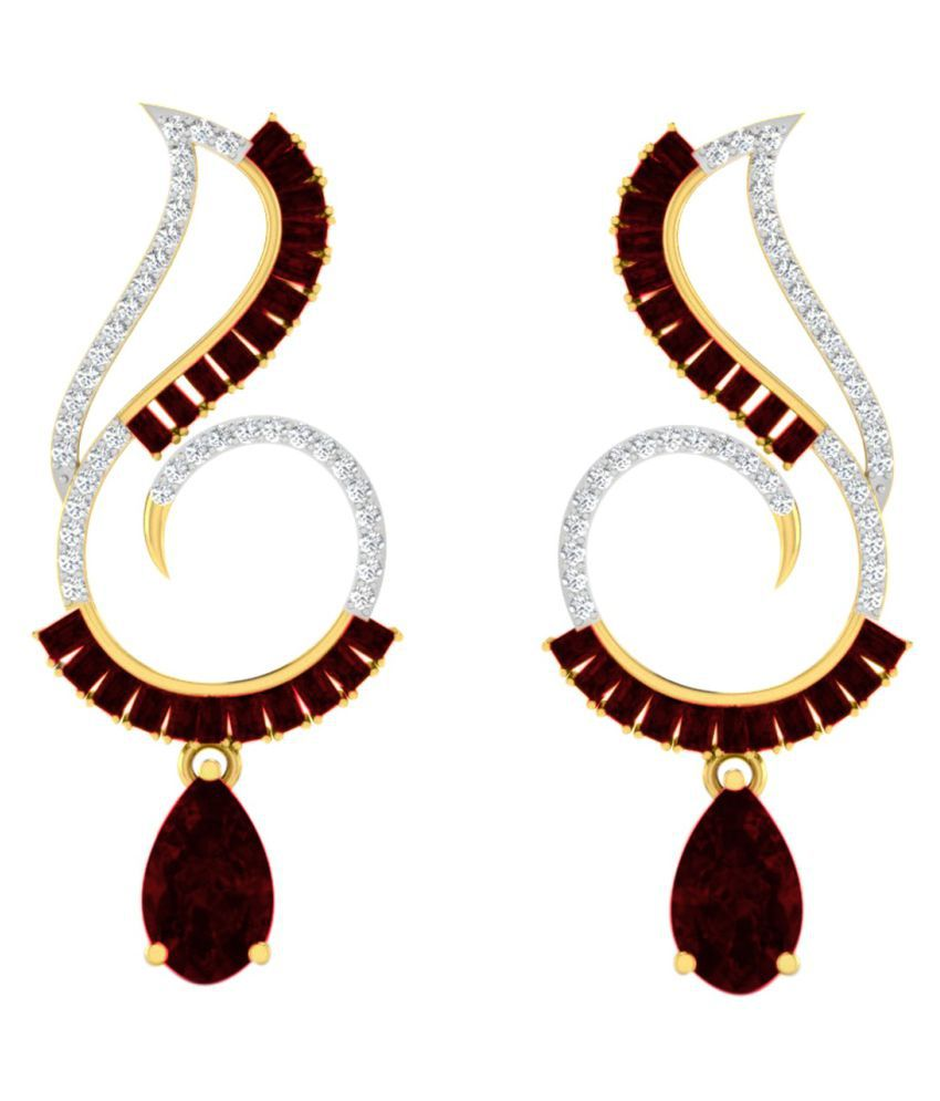 His & Her 9k Yellow Gold Garnet Drop Earrings