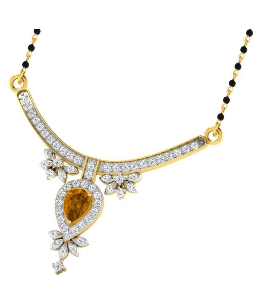 His & Her 9k Yellow Gold Citrine Mangalsutra
