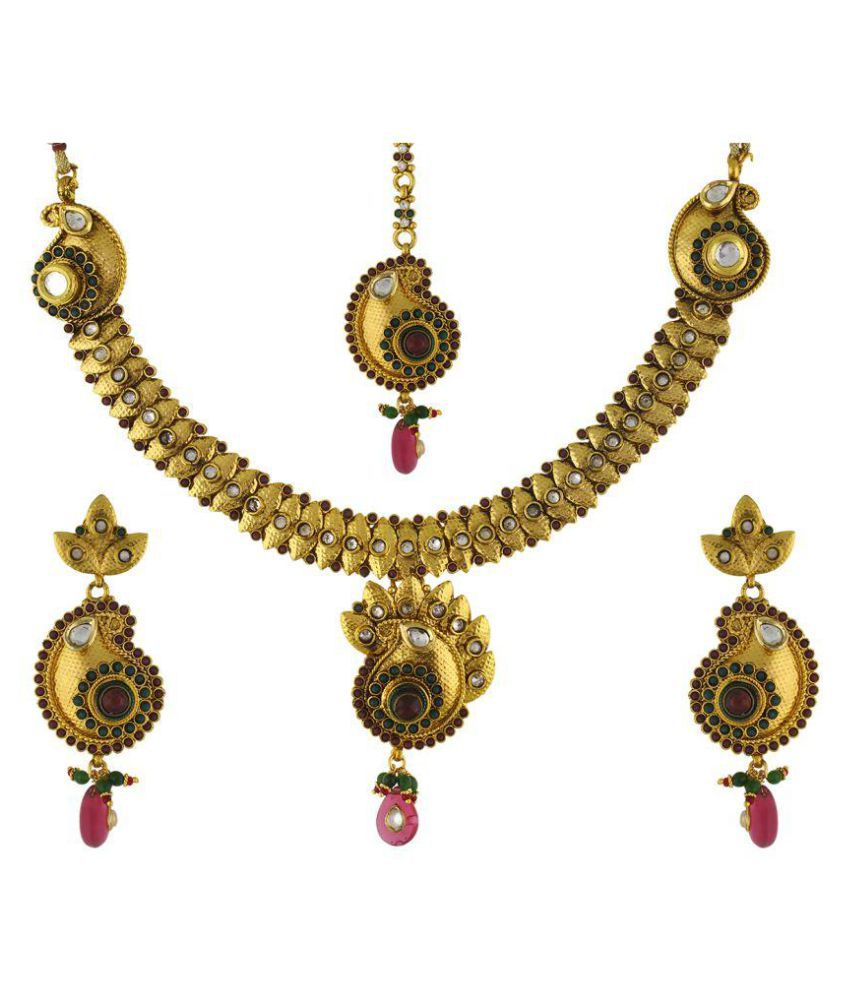 Vama Fashions-Antique-Gold-Plated-Ethnic-jewellery-Choker-set