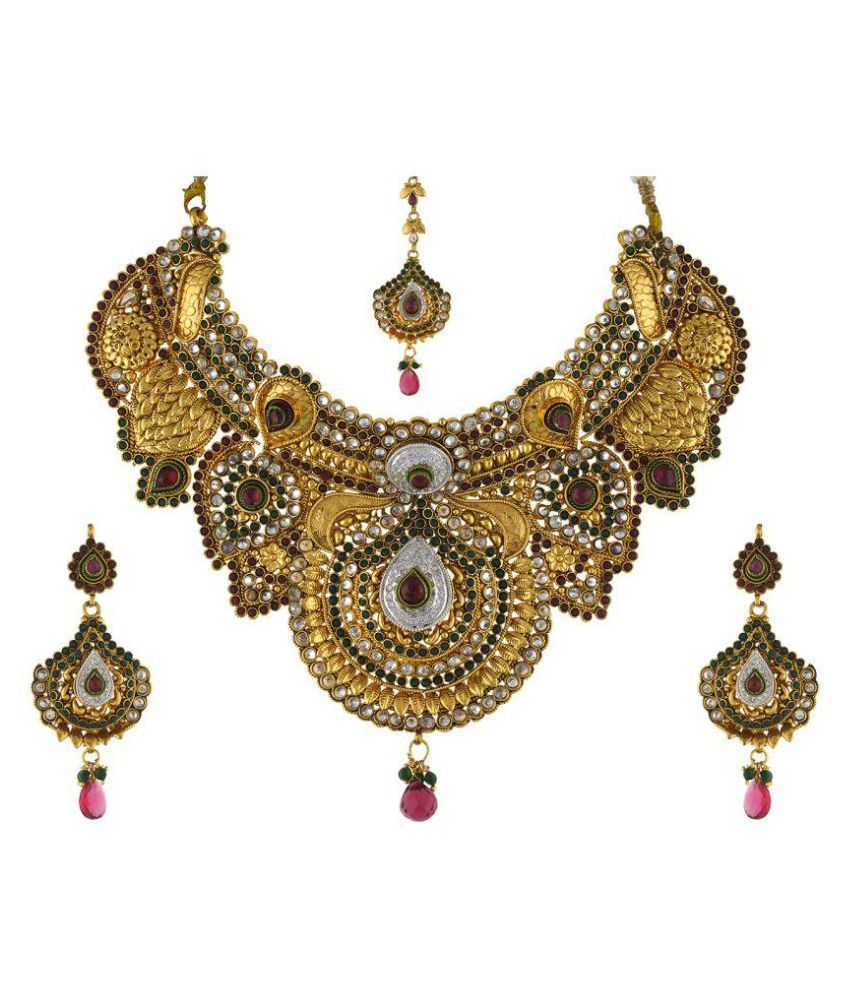sc 1 st  Snapdeal & Vama Fashions-Traditional-South-Indian-Jewellery-Kemp-Antique-Gold ...